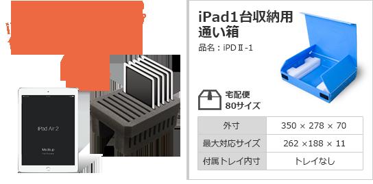 iPadを差し込むだけの簡単セットアップ iPad1台収納用通い箱
